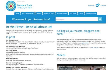 Screenshot of Press Page treasuretrails.co.uk - Press | Treasure Trails - captured Sept. 6, 2016