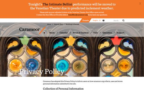Screenshot of Privacy Page caramoor.org - Privacy Policy | Caramoor - captured July 14, 2017