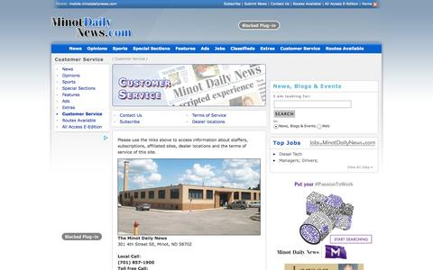 Screenshot of Support Page minotdailynews.com - Customer Service - MinotDailyNews.com | News, sports, business, jobs - Minot Daily News - captured Oct. 26, 2014
