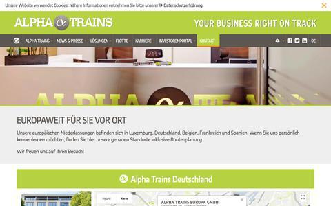 Screenshot of Locations Page alphatrains.eu - Kontakt | Standorte | Alpha Trains - captured July 6, 2018