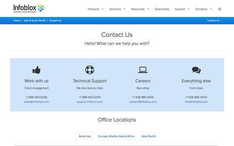 Screenshot of Contact Page infoblox.com - Contact Us | Infoblox - captured Oct. 28, 2014