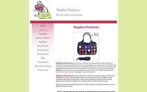 Screenshot of About Page regalospreciosos.co.uk - Regalos Preciosos - About Us - captured Jan. 11, 2016