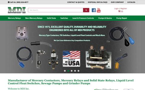Screenshot of Home Page mdius.com - Manufacturer - Mercury Contactors - Solid State Relays - Liquid Level Control - Float Switches - Grinder Pumps - captured Oct. 1, 2018