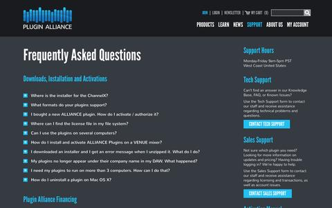 Screenshot of Support Page plugin-alliance.com - Customer Support - Plugin Alliance - captured Feb. 11, 2016