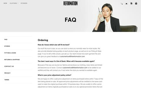 Screenshot of FAQ Page thereformation.com - Reformation - captured Nov. 2, 2014