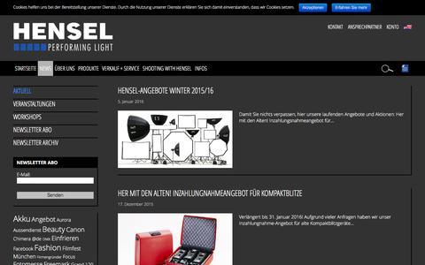 Screenshot of Press Page hensel.eu - Aktuell : HENSEL - captured Jan. 28, 2016