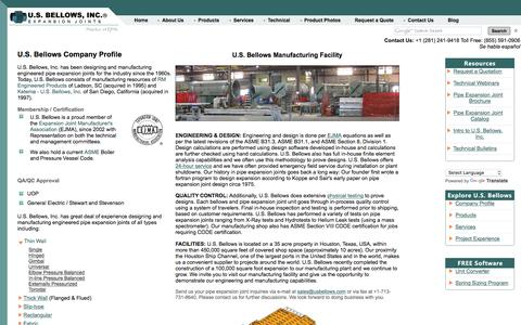 Screenshot of About Page usbellows.com - U.S. Bellows, Inc. - captured Nov. 17, 2016