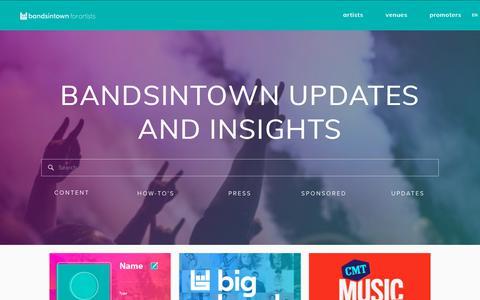 Screenshot of Press Page bandsintown.com - Bandsintown for Artists — Blog - captured June 28, 2019