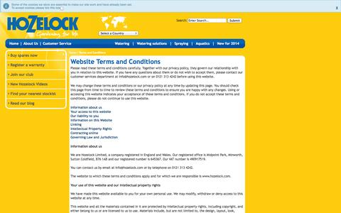 Screenshot of Terms Page hozelock.com - Website Terms and Conditions - Hozelock - captured Sept. 24, 2014