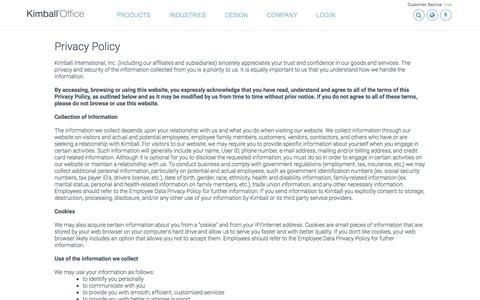 Screenshot of Privacy Page kimballoffice.com - Kimball Office - Contact Us - Kimball Office - captured Nov. 23, 2015