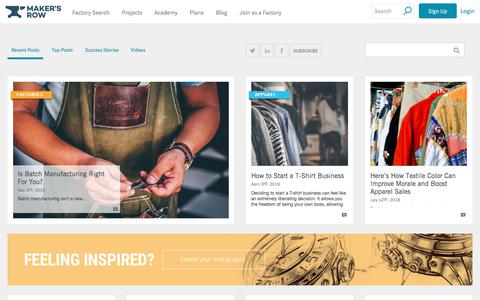 Screenshot of Blog makersrow.com - American ideas made here. | Maker's Row Blog - captured July 23, 2019