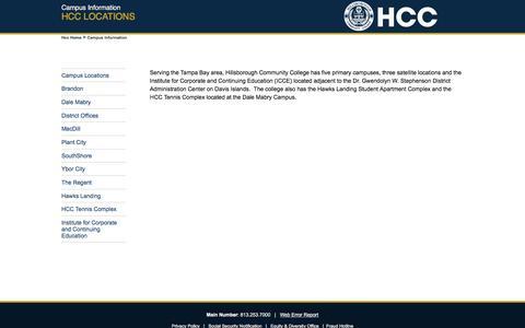 Screenshot of Locations Page hccfl.edu - Campus Information - Hillsborough Community College - HCC - captured Sept. 26, 2018