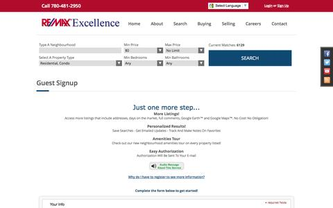 Screenshot of Signup Page edmontonhomepage.com - Guest Signup: RE/MAX Excellence - captured Oct. 7, 2014