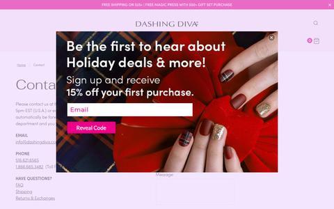 Screenshot of Contact Page dashingdiva.com - Contact | Dashing Diva - captured Dec. 9, 2018