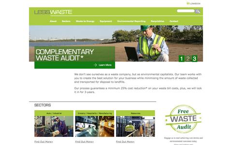 Screenshot of Home Page lesswaste.com.au - HOME | LESS WASTE - captured Sept. 29, 2014