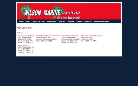 Screenshot of Locations Page wilsonboats.com - Locations - captured Nov. 3, 2014