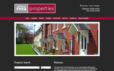 Screenshot of Home Page rmaproperties.co.uk - Flats, Rooms and Houses to Rent in Oxford Property to Let Oxford - captured Oct. 7, 2014