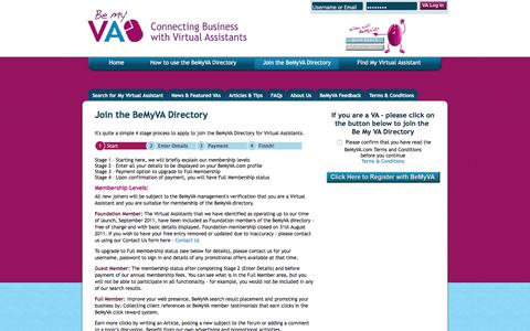 Screenshot of Signup Page bemyva.com - BeMyVA Join the International directory for virtual assistants - BeMyVA - captured Jan. 4, 2017
