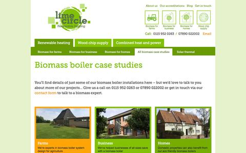 Screenshot of Case Studies Page lime-circle.co.uk - See our biomass installations for farms, businesses & homes | Lime-Circle Renewable Heating - captured Feb. 2, 2016