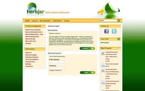 Screenshot of Login Page herbjar.co.uk - Safe natural skin care from The HerbJar | Account Login - captured Oct. 7, 2014