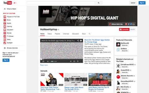 Screenshot of YouTube Page youtube.com - HotNewHipHop  - YouTube - captured Oct. 22, 2014