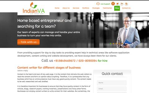 Screenshot of Blog indianva.com - Indian Virtual Assistant News Blog, Hiring Virtual Assistants | IndianVA - Your Remote Staff - captured Sept. 30, 2014