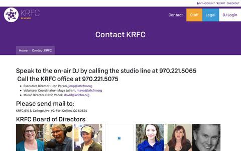 Screenshot of Contact Page krfcfm.org - Contact KRFC   KRFC - captured July 10, 2018