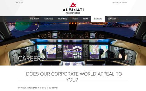 Screenshot of Jobs Page albinati.aero - Albinati Aeronautics - Careers - captured Oct. 7, 2017