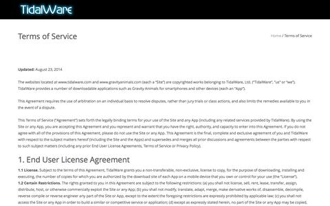 Screenshot of Terms Page tidalware.com - Terms of Service – TidalWare™ - captured Dec. 19, 2016