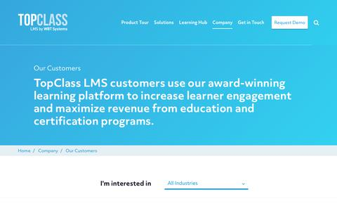 Screenshot of Case Studies Page wbtsystems.com - Learn more about our TopClass LMS Customers | WBT Systems - captured Jan. 11, 2020