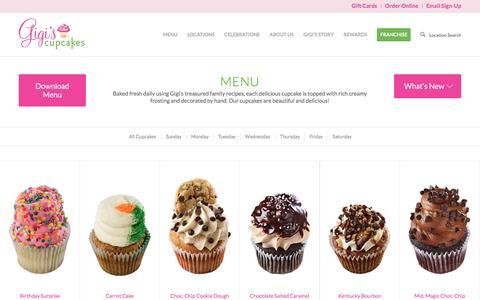 Screenshot of Menu Page gigiscupcakesusa.com - Menu - Gigis Cupcakes - captured Sept. 17, 2016