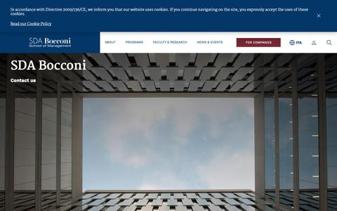 Screenshot of Contact Page sdabocconi.it - SDA Bocconi - Contact Us - captured Dec. 16, 2018