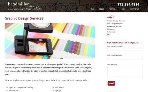 Screenshot of Services Page bradmillerdesign.com - Graphic Design Services in Chicago - Clean, professional design - captured Oct. 6, 2018