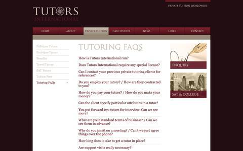 Screenshot of FAQ Page tutors-international.com - Tutoring FAQs – Tutors International - captured Dec. 11, 2018