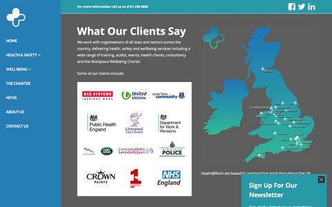 Screenshot of Case Studies Page healthatworkcentre.org.uk - Case Studies - Health@Work - captured Nov. 5, 2016