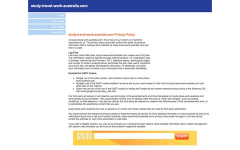 Screenshot of Privacy Page study-travel-work-australia.com - Welcome to study-travel-work-australia.com - Privacy Policy - captured March 29, 2017
