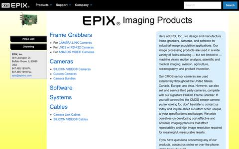 Screenshot of Products Page epixinc.com - Imaging Products- EPIX, Inc. - captured July 15, 2018