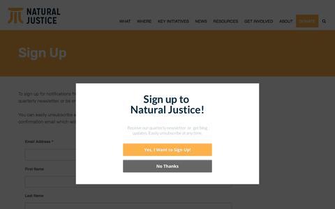 Screenshot of Signup Page naturaljustice.org - Sign Up - captured Nov. 15, 2017