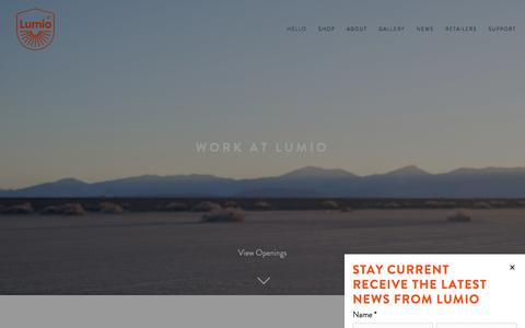 Screenshot of Jobs Page hellolumio.com - Work at Lumio — Lumio - captured Sept. 3, 2016