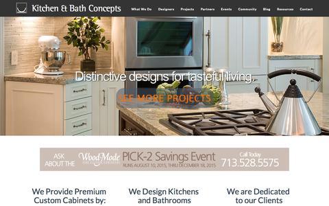 Screenshot of Home Page kitchen-concepts.com - Kitchen & Bath Concepts. Designers. Premium Cabinets. - captured Sept. 6, 2015