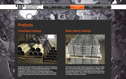 Screenshot of Products Page performance-castings.com - pipllc | Products - captured Nov. 2, 2016