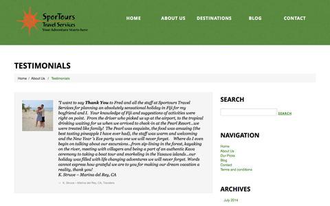 Screenshot of Testimonials Page sportourstravelservices.com - Testimonials  |  Sportours Travel Services | Your Adventure Starts Here - captured Oct. 7, 2014