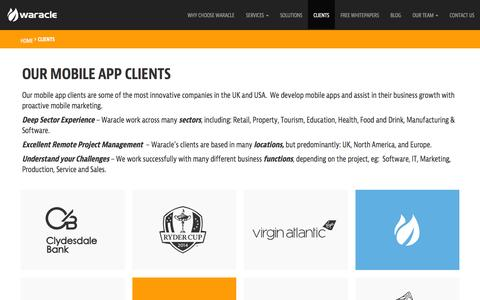 Screenshot of Case Studies Page waracle.net - Mobile App Clients | Waracle - captured Nov. 24, 2015
