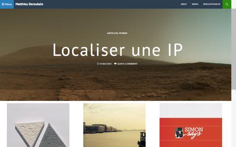Screenshot of Home Page mderoubaix.fr - Matthieu Deroubaix | Works & blog - captured Sept. 16, 2015