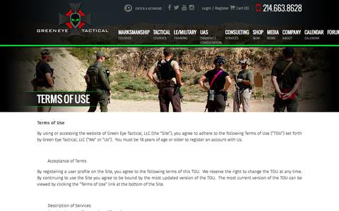 Screenshot of Terms Page greeneyetactical.com - Terms of Use | Green Eye Tactical - captured July 24, 2018