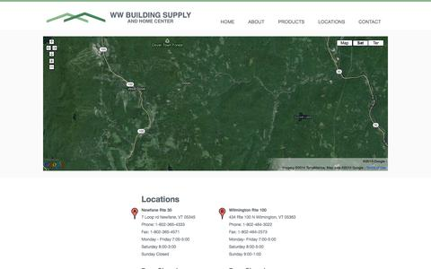 Screenshot of Locations Page wwbuilding.com - WW Building Supply Locations - Building materials, lumber, green building, windows, doors, windows & doors, Vermont building,– Newfane, Wilmington - captured Oct. 7, 2014
