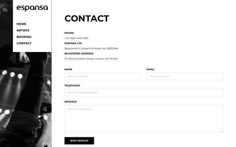 Screenshot of Contact Page espansa.com - Contact - Espansa - captured Nov. 5, 2018