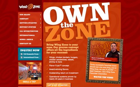 Screenshot of Home Page wingzonefranchise.com - Wing Zone Franchising | Own the Zone - captured Sept. 4, 2015