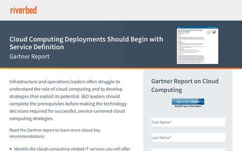 Screenshot of Landing Page riverbed.com - Cloud Computing Deployments Should Begin with Service Definition - captured April 3, 2017