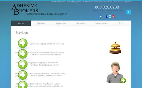 Screenshot of Services Page adhesivebrokers.com - Services - Adhesive Brokers - captured Dec. 23, 2015
